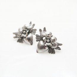 Silver Milagros Birds and Heart Earrings