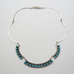 Delicate Silver and Faux Turquoise Necklace