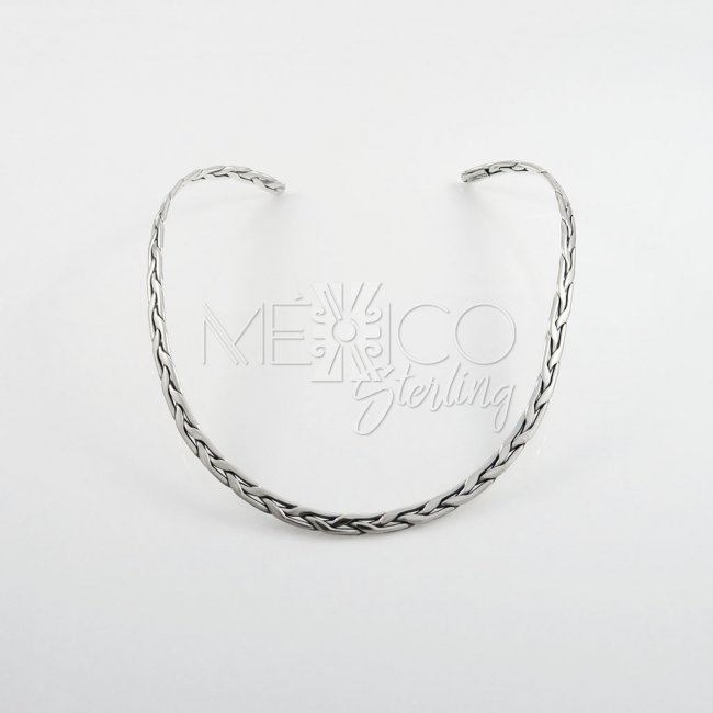 Taxco Silver Wide Braided Choker