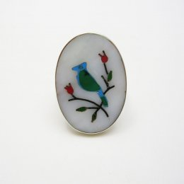 Taxco Silver Vintage Bird Mirror Ring