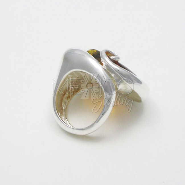 Silver and Amber Pebble in the Ocean Ring