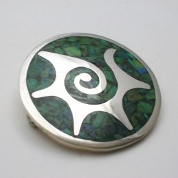 Taxco Solid Silver Brooch with Stone Inlay