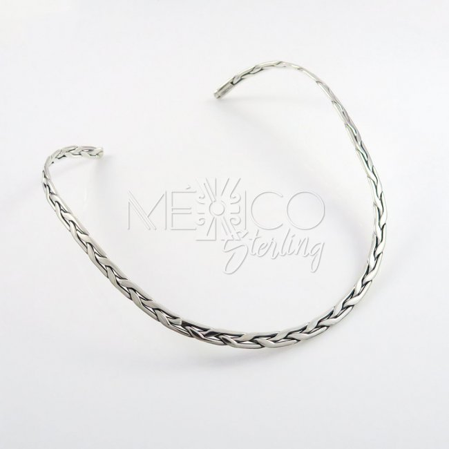 Taxco Silver Wide Braided Choker - Click Image to Close