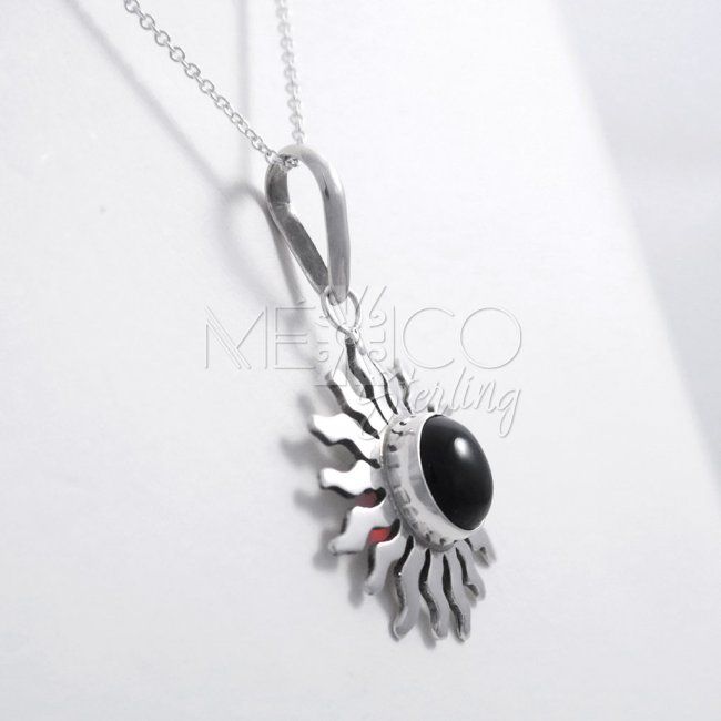 Taxco Silver Sun with Amber Pendant
