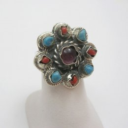 Multi Stone Taxco Silver Flower Ring