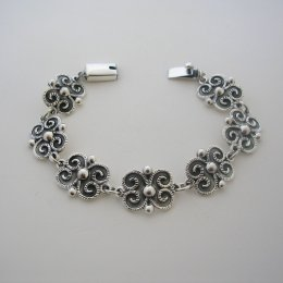 Oxidized Silver Bracelet Beautiful Baroque Style
