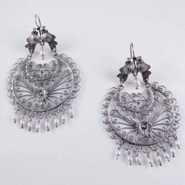 Bright Silver Filigree Mazahua Sun Earrings