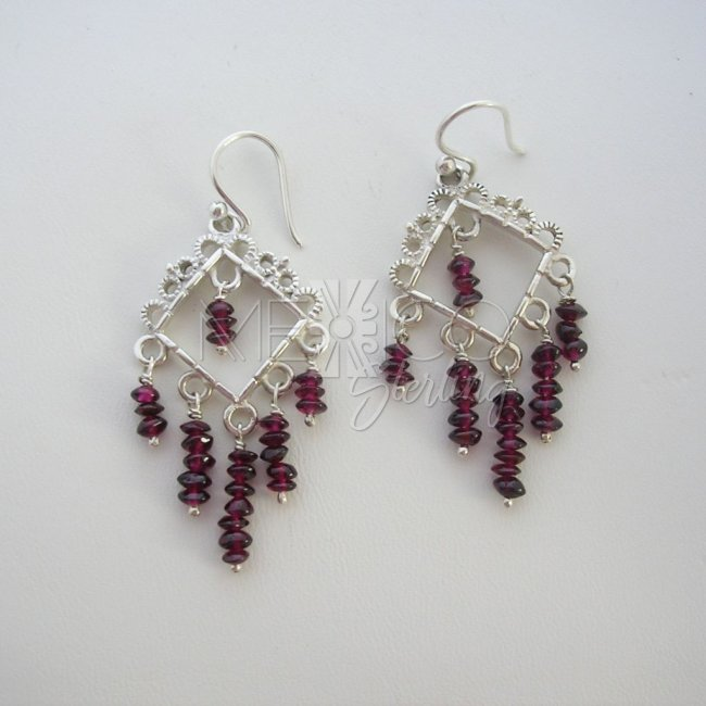Sterling Silver and Gemstone Stone Earrings