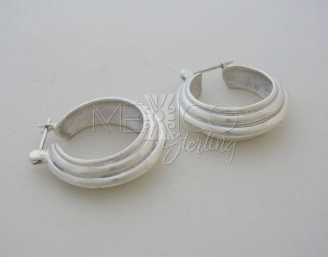 Graded and Sturdy Taxco Sterling Silver Hoops