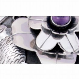 Solid Taxco Silver Cuff Bracelet with Amethyst