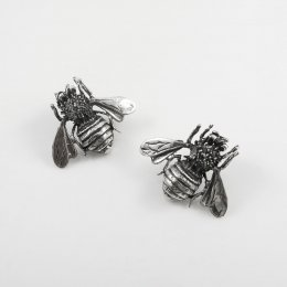 Unusual Taxco Silver Bee Earrings