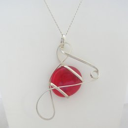 Silver Plated and Red Glass Pendant