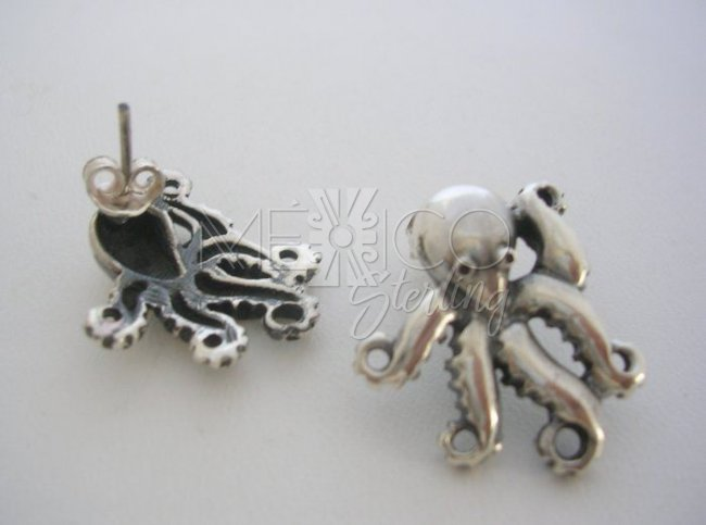Unique Jewelry Sterling Silver Octopus Earrings