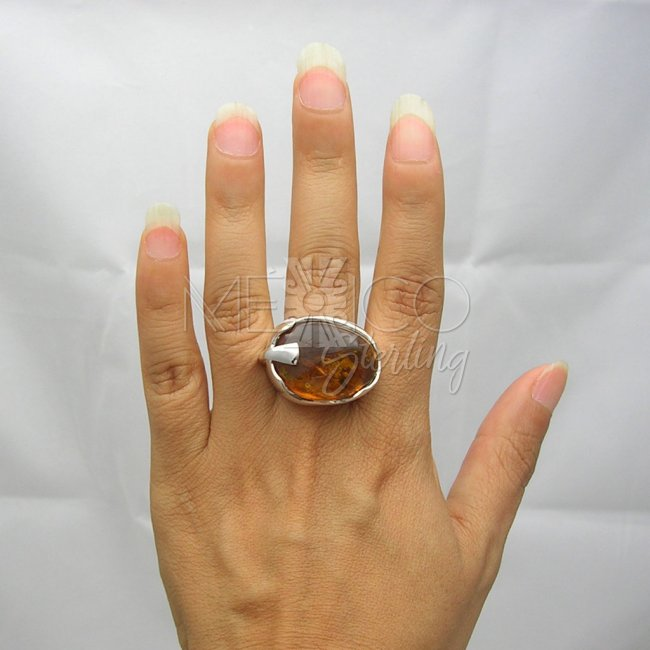 Taxco Silver and Amber Wizard Ring