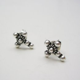 Taxco Silver Cross Stud Earrings