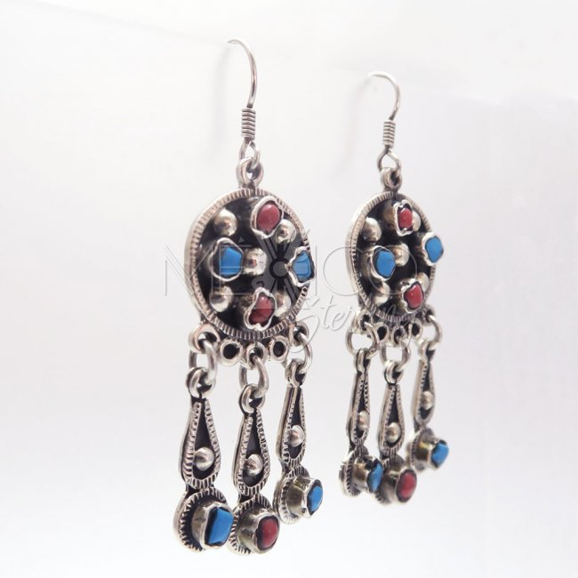 Taxco Rustic Silver Stone Earrings
