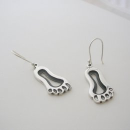 Mexican Sterling Silver Feet Earrings