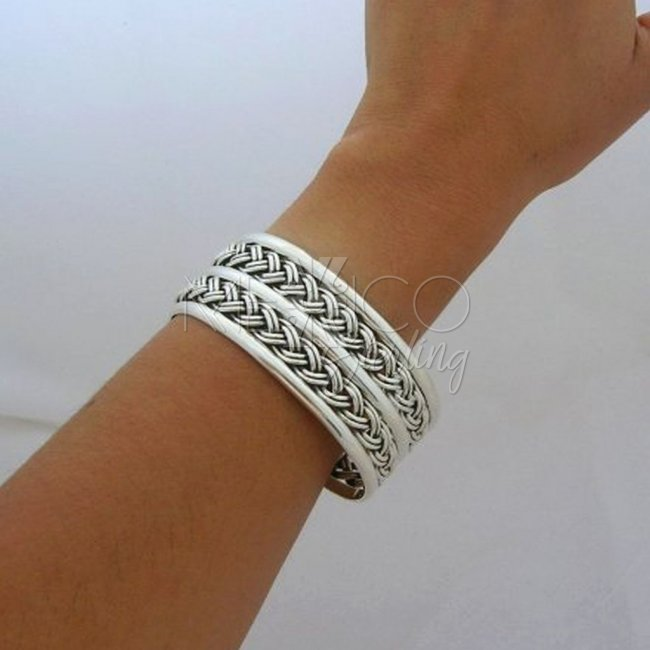Mexican Sterling Silver Cuff Bracelet, Braided