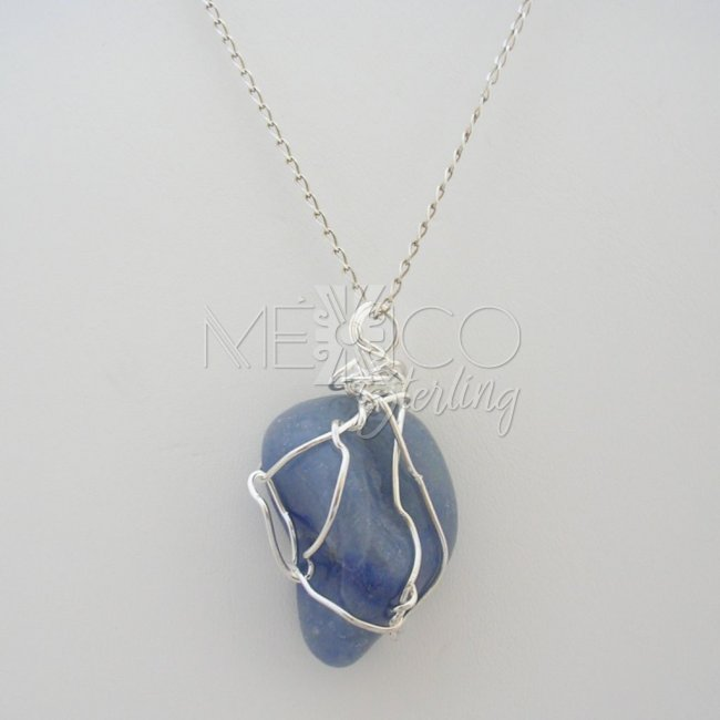 Silver plated and blue quartz pendant spj2873 800 mexico silver plated and blue quartz pendant aloadofball Gallery
