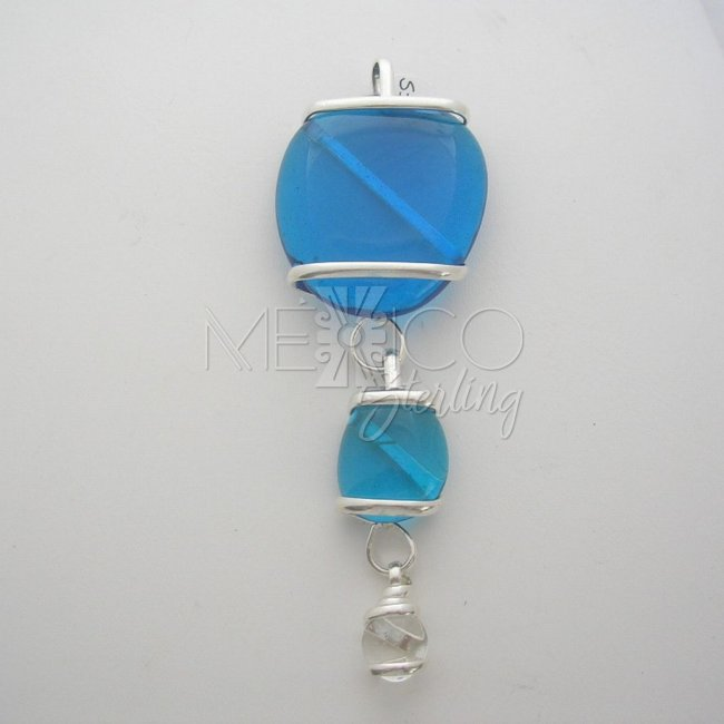 Silver Plated Pendant Colorful Glass Beads