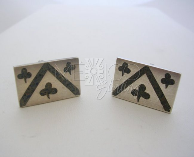 Taxco Silver Cufflinks inlay stone leaf clovers