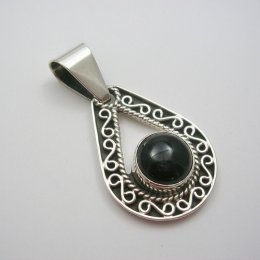 Taxco Solid Silver and Onyx Pendant