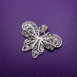Silver Ethereal Large Butterfly Pendant
