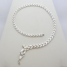 Thin Taxco Silver Necklace Snake Design