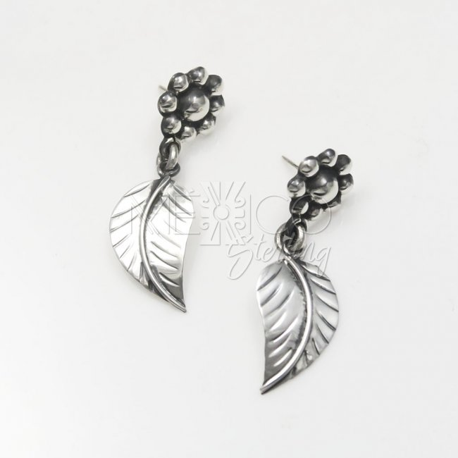 Taxco Silver Morning Flowers Earrings