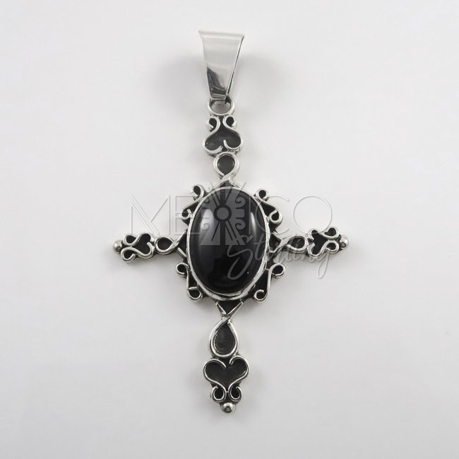 Large Taxco Silver Love Cross Pendant