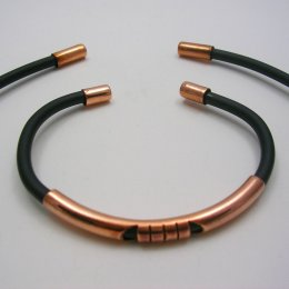 Taxco Copper and Black Rubber Bracelet