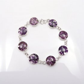 Silver-Flowers Bracelet Circles Shapes