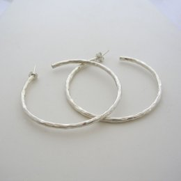 Large Taxco Hammered Silver Hoops