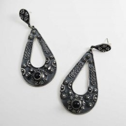 Old Taxco Silver Long Earrings