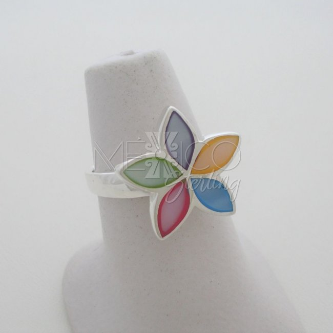 Taxco Silver Ring Mother of Pearl Inlay