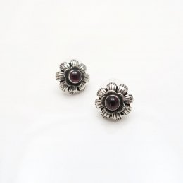 Silver and Garnet Flower Post Earrings