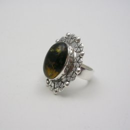 Taxco Silver Ring with Chiapas Amber