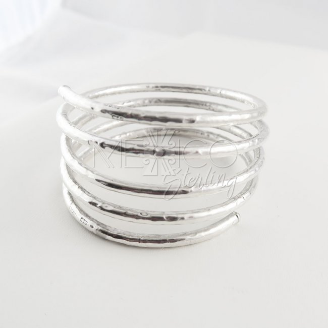 Sterling silver Orbits Bangle Cuff
