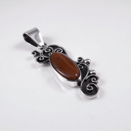 Silver Tiger's Eye Dragon Year Pendant