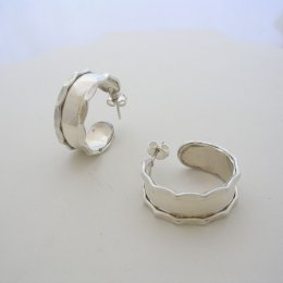 Dented Taxco Silver Hoops Polished Surface
