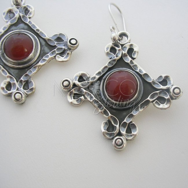Classic Taxco Silver Earrings and Stones