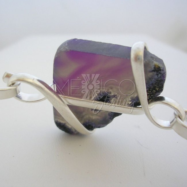 Silver Plated Bracelet Cuff with Natural Quartz