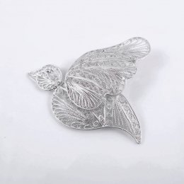 Silver Filigree Peace Dove Pendant-Brooch