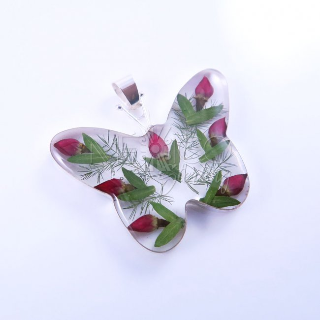 Rose Buds and Silver Pendant Butterfly
