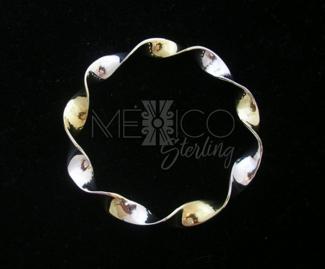 Two Tone, Taxco Sterling Silver Bangle