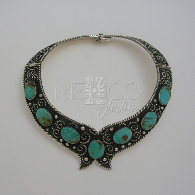 Classic Taxco Silver Necklace with Turquoise - Click Image to Close