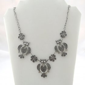 Silver Filigree Dreamy Owls Necklace