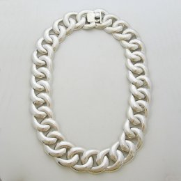 Sterling Silver Necklace with Oval Weave