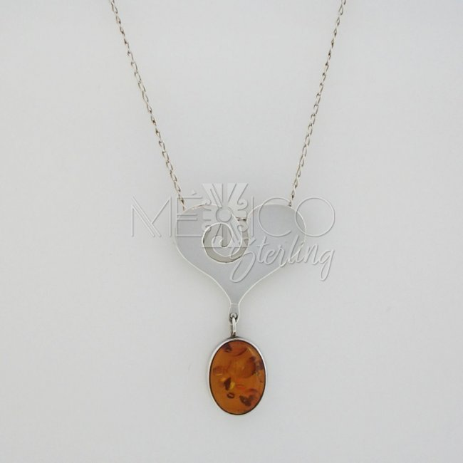 Taxco Sterling Silver Pendant with Amber