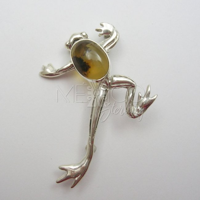 Silver and Mexican Amber Brooch